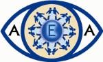 Logoen til den spanske foreningen, som viser ett øye der mennesker står inne i iris og holder hverandre i hendene for å symbolisere at vi sammen er sterke.