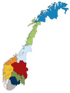Norgeskart med fylker anno 2020